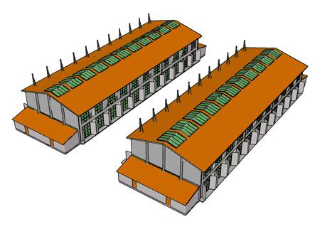 Dos graneros modernos grandes verdes y naranjas con cierres abiertos y ventanas de techo verde ilustración vectorial sobre fondo blanco Ilustración de vector