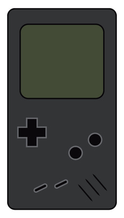 A hand held video game device of tile matching puzzle called Tetris vector color drawing or illustration Illustration