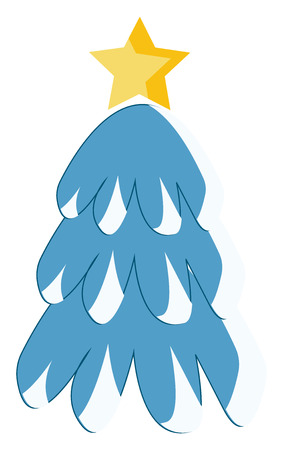 A snow covered pine tree with a golden star on the top symbolizing Christmas vector color drawing or illustration Illustration