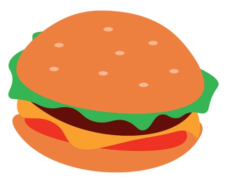 An image resembling a burger that contains cheese tomatoes and lettuce vector color drawing or illustration