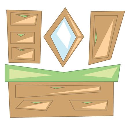 A wooden dressing shelf vector or color illustration