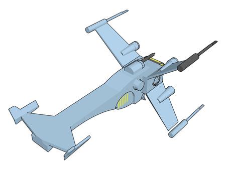 Light blue fantasy battleship vector illustration on white background