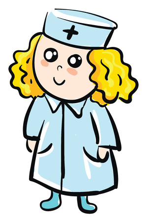 Cartoon of a smiling female doctor vector illustration on white background