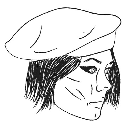 A drawing of a person wearing a beret hat vector color drawing or illustration