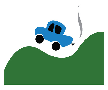 A blue car jumping on green hills vector color drawing or illustration