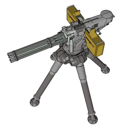 3D vector illustration on white background of a military missile machine gun Illusztráció