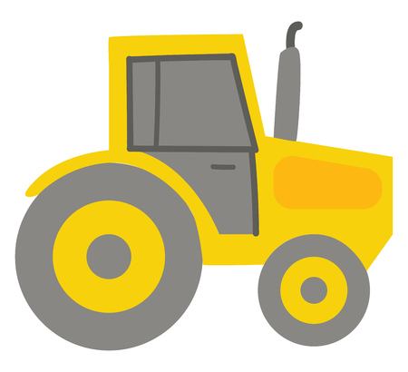 Yellow tractor illustration color vector on white background Banque d'images - 123461989
