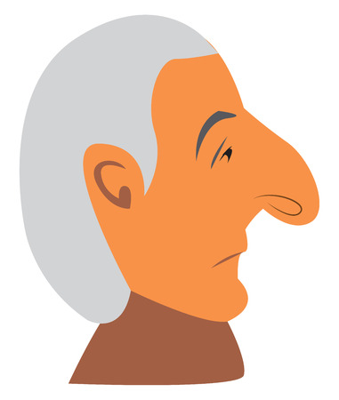 A sad old man with a big nose vector color drawing or illustration Illustration
