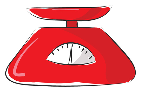 Red kitchen scale  vector illustration on white background