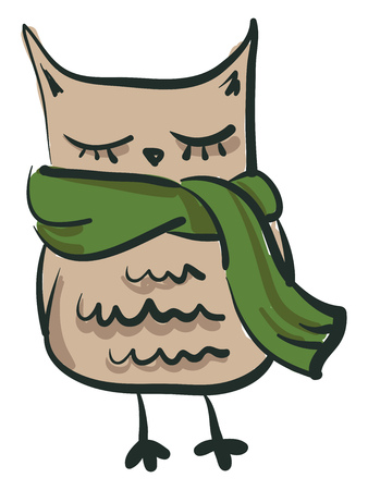 An image of a rectangular shaped owl with eyes closed wearing a green muffler vector color drawing or illustration