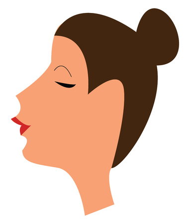 A lady wearing a red lipstick and hair tied up in a neat bun vector color drawing or illustration