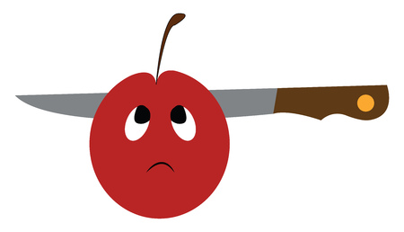 A cartoon of an apple with sad face which has a knife through it vector color drawing or illustration