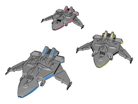 Fantasy spacecrafts vector illustration non white background