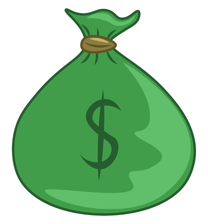A green bag with $ written on it depecting that it contains money
