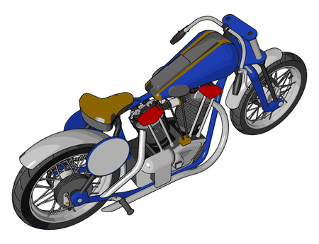 Blue vintage chopper motorcycle vector illustration on white background 일러스트