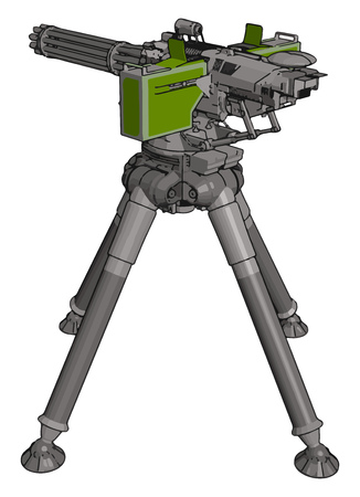 3D vector illustration on white background of a military missile machine gun  イラスト・ベクター素材