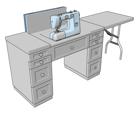 3D vector illustration of a sewing machine on a working table white background