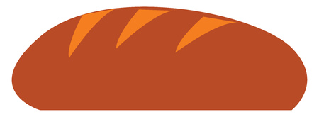 A loaf of brown bread vector color drawing or illustration