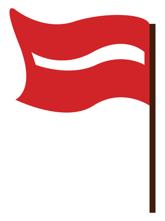 A long stick on which a red flag is waving vector color drawing or illustration