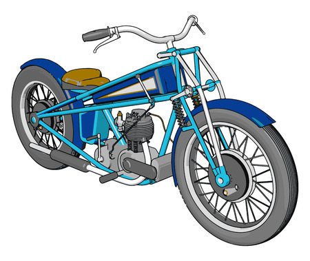 3D vector illustration of a blue vintage chopper motorcycle white background