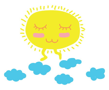 A cartoon of a peaceful looking sun walking above clouds vector color drawing or illustration Ilustrace