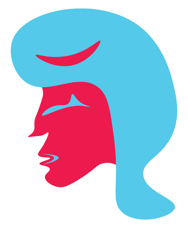 An image of a woman with pink face and blue hair vector color drawing or illustration