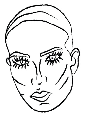 A sketch of a woman with long eyelashes vector color drawing or illustration