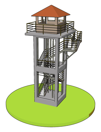 3D vector illustration on white background  of a watch tower Illustration