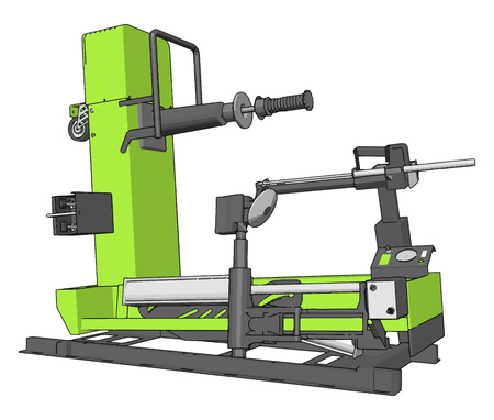 Vector illustration of  a green bore lathe white background