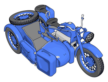 3D vector illustration on white background  of a military motorcycle with sidecar 일러스트