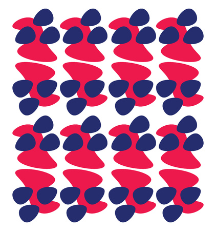 A red and blue pattern arranged in a series vector color drawing or illustration