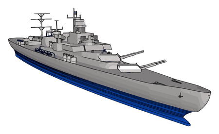 3D vector illustration on a white background of a long grey and blue war military ship Vektorové ilustrace