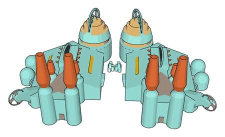 3D vector illustration of a blue manufacturing building white background Standard-Bild - 123462071
