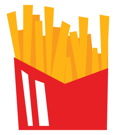 A red box containing golden yellow french fries vector color drawing or illustration Archivio Fotografico - 123462073