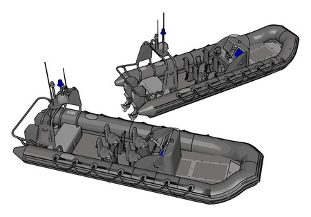 3D vector illustration on white background  of two military inflatable boats