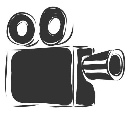 Simple black vintage camcorder vector illustration on white background