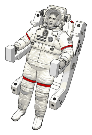 Astronaut out in space vector illustration on white background