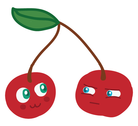A cartoon of two cherries out of which one looks happy while the other one looks angry vector color drawing or illustration Иллюстрация