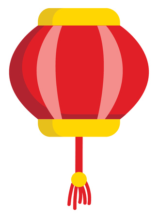 Red and yellow lantern  vector illustration on white background