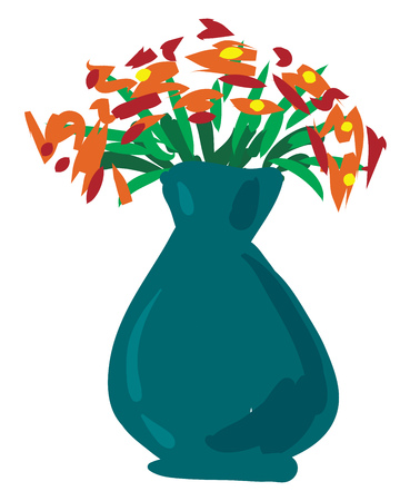 An image of several flowers potted in a green vase vector color drawing or illustration