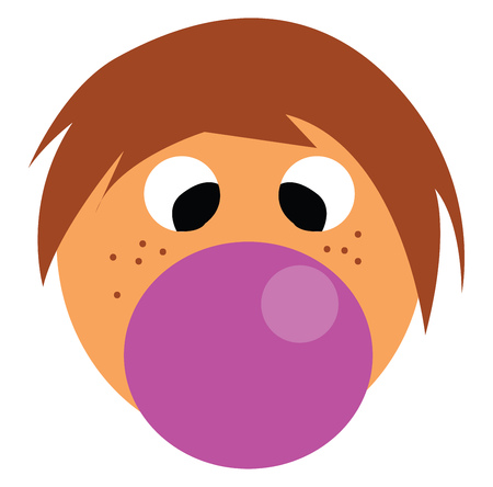 A boy with brown hair who has a purple pacifier in his mouth vector color drawing or illustration