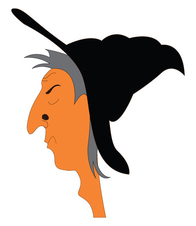 Portrait of witch with big nose illustration print vector on white background