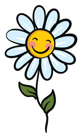Smiling chamomile flower with green leaves vector illustration on white background