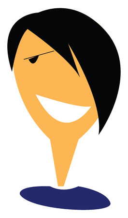 A boy with black sharp hair with a big smile vector color drawing or illustration Banque d'images - 123462120