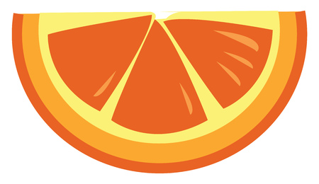 A semi-circular piece of orange vector color drawing or illustration