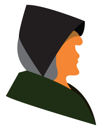 An old woman with grey hair wearing a black hat and a green coat vector color drawing or illustration