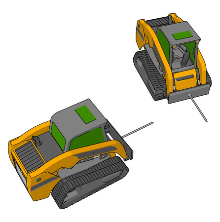 Green and yellow bale transportation vehicles vector illustration on white background