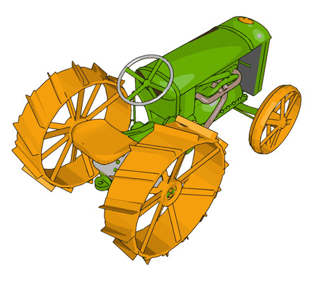 Green and yellow tractor vector illustration on white background Banque d'images - 123462151