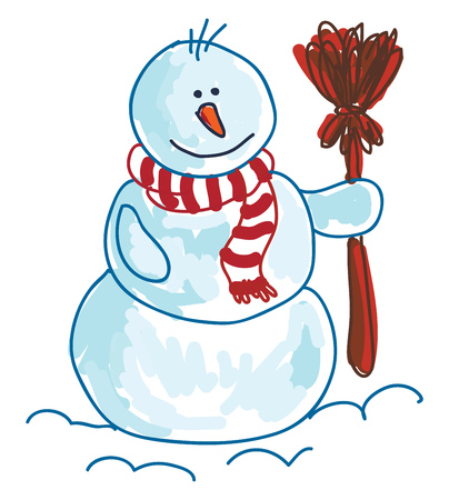 A drawing of a snowman wearing a red and white striped muffler and holding a red broom in one hand vector color drawing or illustration