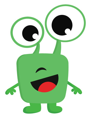 Smiling green monster with big eyes vector illustration on white background